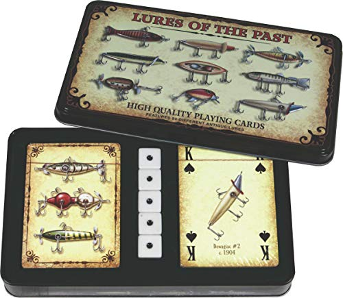 Card Playing Tin - River's Edge Products Antique Lure Cards and Dice in Gift Tin
