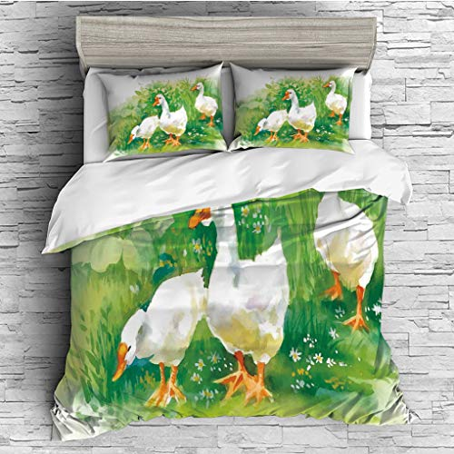 3 Pieces (1 Duvet Cover 2 Pillow Shams)/All Seasons/Home Comforter Bedding Sets Duvet Cover Sets for Adult Kids/Singe/Duck,Goose in Farm Lake Plants Grass Reeds Flowers Pond Animals Geese Feathers Lif