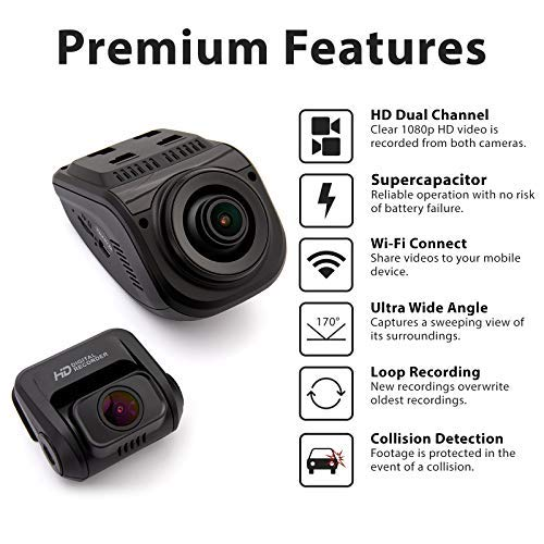 Rexing V1P 3rd Generation Dual 1080p Full HD Front and Rear 170 Degree Wide Angle Wi-Fi Car Dash Cam with Supercapacitor, 2.4'' LCD Screen, G-Sensor, Loop Recording, Mobile App by REXING (Image #3)
