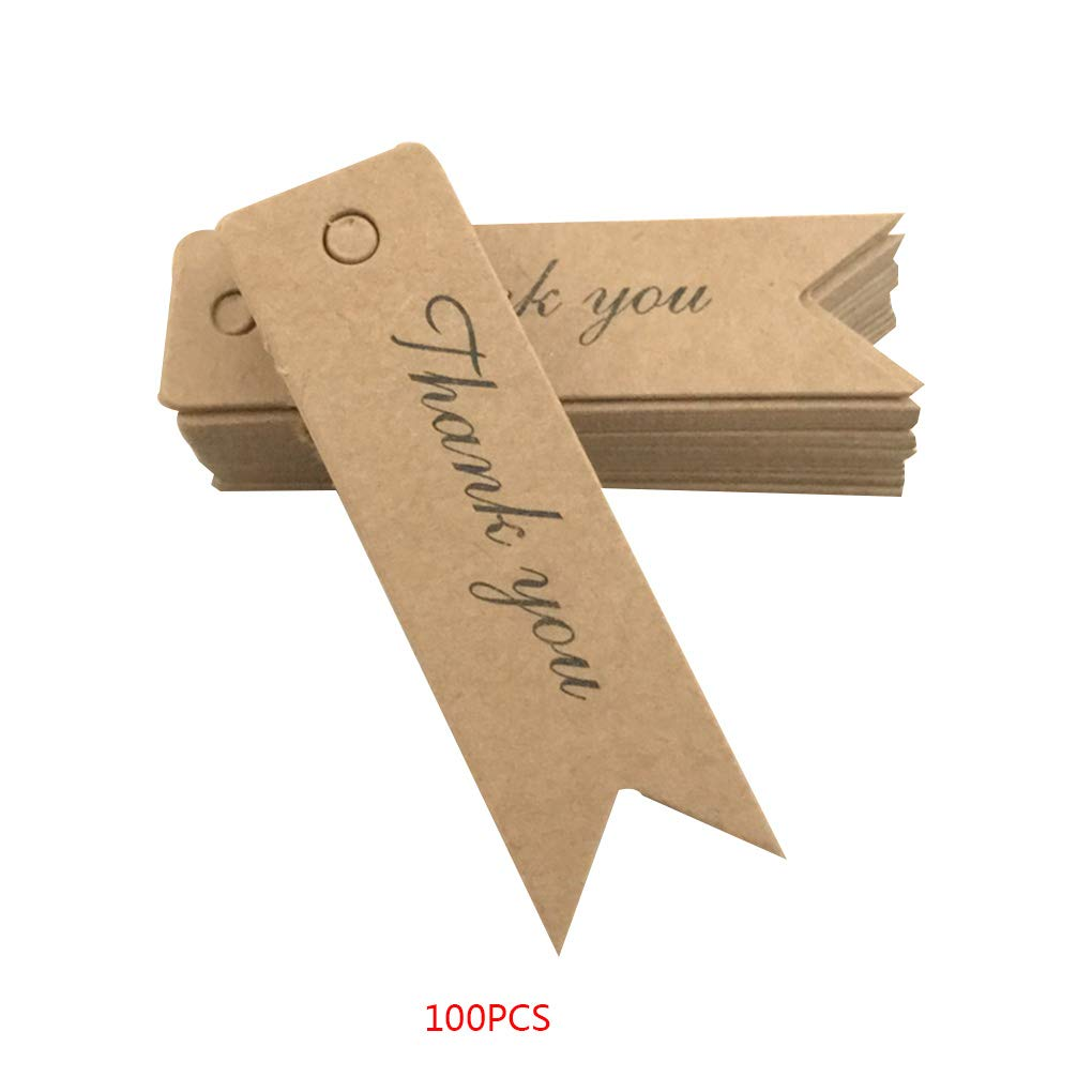 OmkuwlQ 100pcs Thank You Handmade Pattern Tags Blank Paper Label Card Baking Decorative Tools Gift Decor