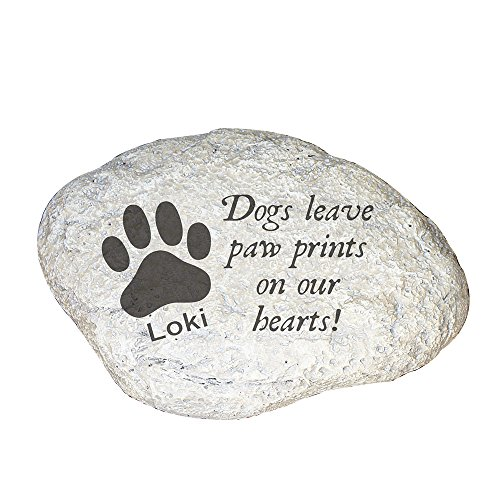 GiftsForYouNow Dogs Leave Paw Prints On Our Hearts Personalized Garden Stone (Dogs Leave Pawprints On Our Hearts Stone)