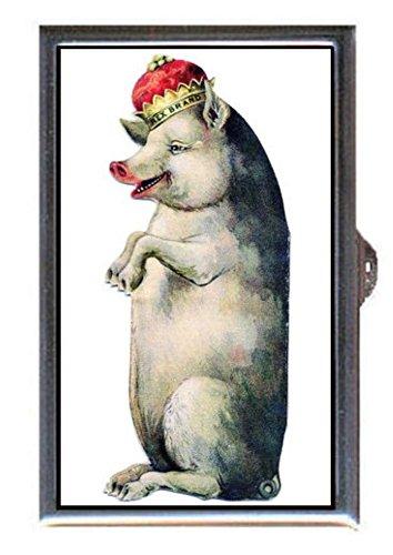 Pig King Comic Victorian Advertising Scrap Decorative Pill Box