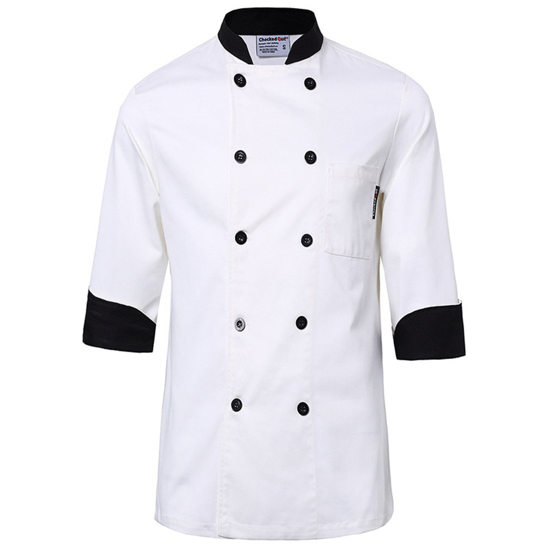 White chef uniforms unisex long and short sleeve coat catering jackets