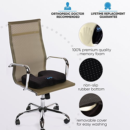 Everlasting Comfort Seat Cushion - Relieve Back, Sciatica, Coccyx and Tailbone Pain - Fits Office Chair and Car