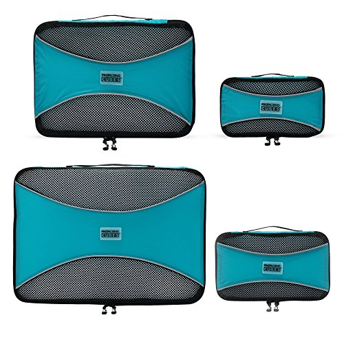 PRO Packing Cubes Lightweight Travel - Packing for Carry-on Luggage, Suitcase and Backpacking Accessories Set, Aqua Blue - 4 Piece