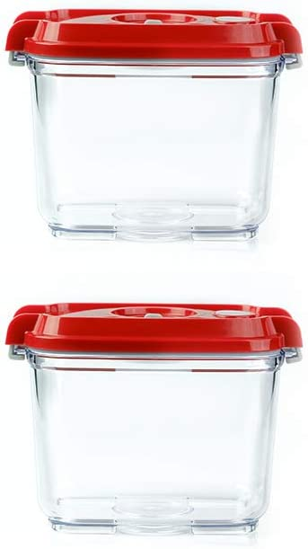 Pomodoro Food Storage Vacuum Seal Containers Set - Preserve Food Longer, Stackable, Airtight, Great for Marinating Meat & Food (2-Piece (27oz))