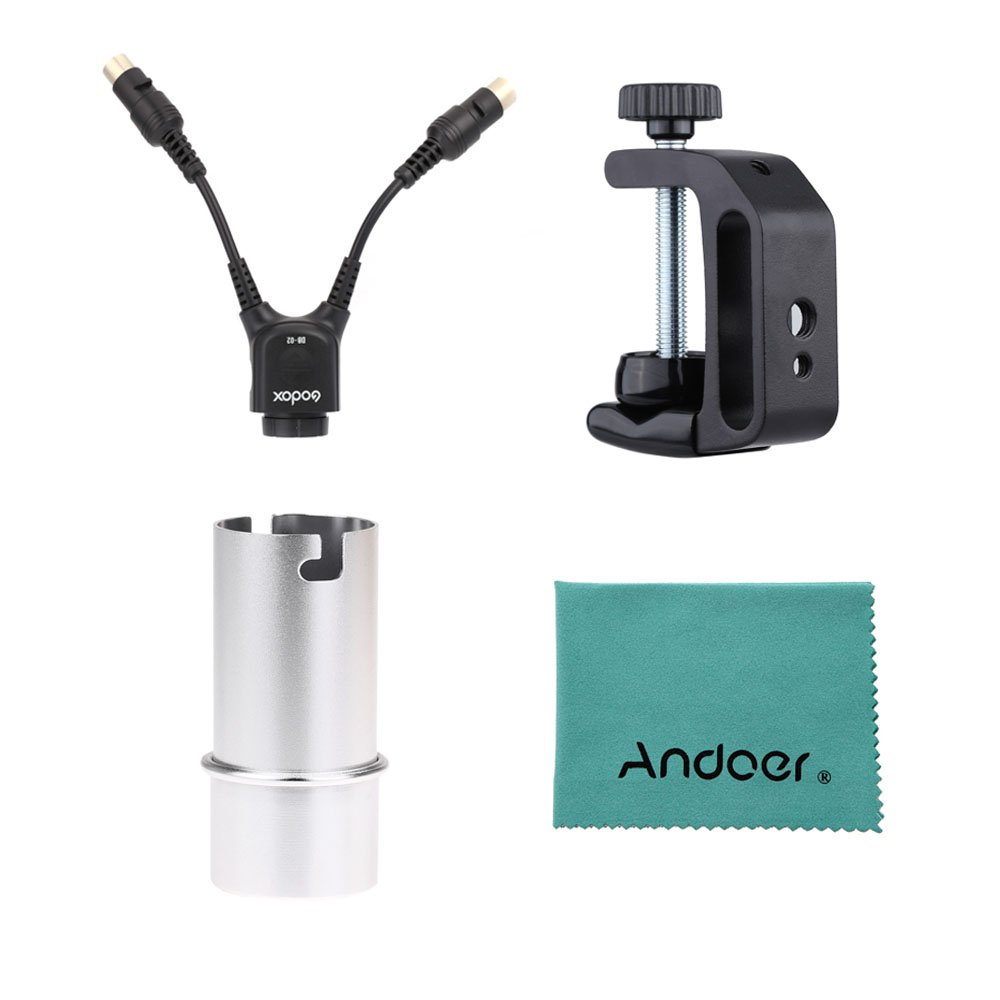 Godox DB-02 Cable Y Adapter 2 to 1 + Q-type Multifunctional Clip + AD-S15 Flash Lamp Tube Bulb Protector Cover for Power Pack PB960 Flash AD360 AD180 Flash Speedlite w/ Andoer® cleaning cloth