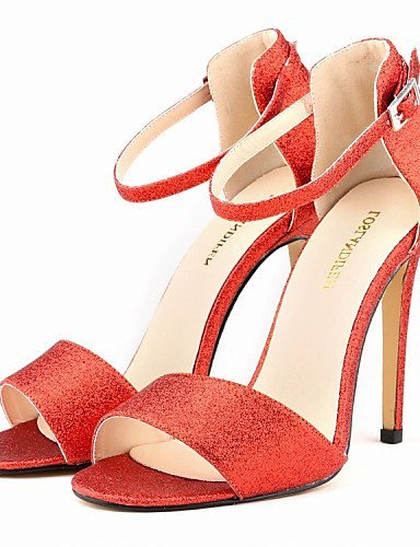 ShangYi Women's Shoes Glitter / Leatherette Stiletto Heel Heels Sandals Party & Evening / Dress / Casual Black / Red Red m7aQizCpj