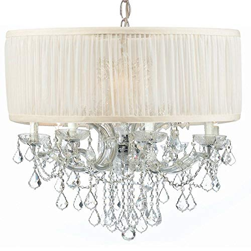 - Crystorama 4489-CH-SAW-CLS Crystal Accents Eight Light Chandeliers from Brentwood collection in Chrome, Pol. Nckl.finish,