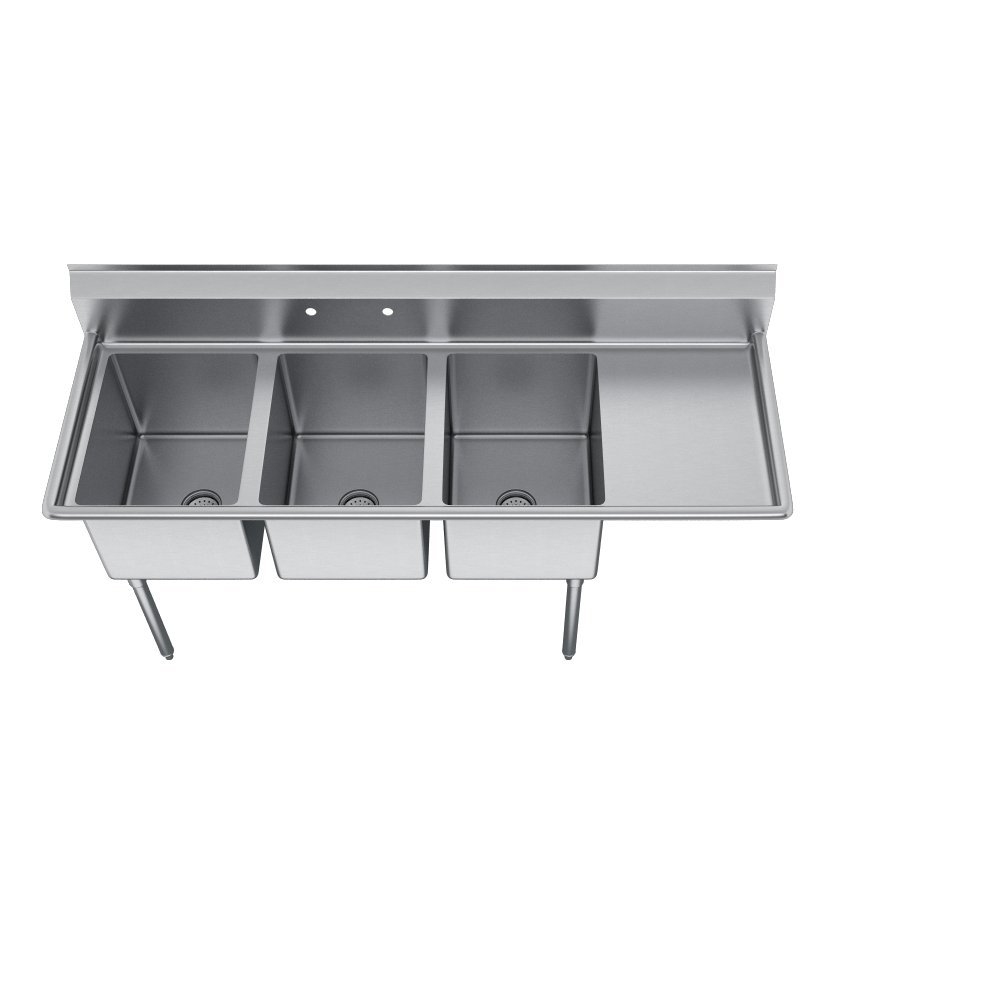E-Series 3-Compartment Sink, 18'' right drainboard by Elkay (Image #3)