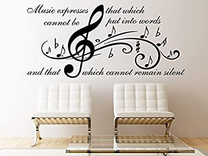 Music Wall Decal Quote Music Expresses That Which Vinyl Note Treble ...