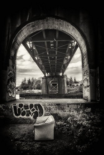 Fine Art Photography, Black and White Photography, Architectural Photography, Pacific Northwest, Seattle, Ballard, Bridge Couch, Living room, Skyline, Abstract, Urban Photography by Images by Ed