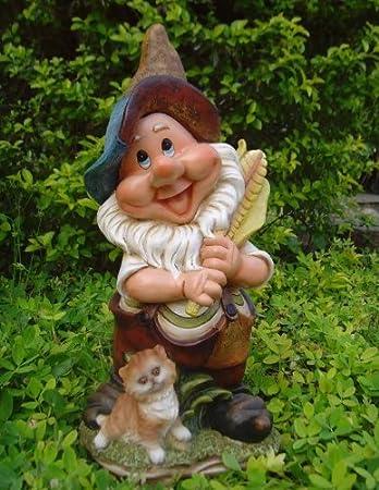 Design Zwerg mit Katze 38 cm Hoch Deko Garten Gartenzwerg Figuren ...