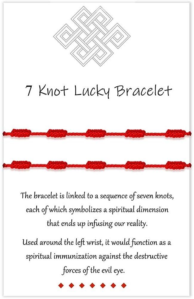 UNGENT THEM Red Bracelet 7 Knots Kabbalah Protection Good Luck Thread String Ankle Bracelets for Women Men Girls Boys Family Friends