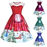 Christmas Dress, Gillberry Women Christmas Print Lace Pin Up Swing Lace Party Panel Plus Size Dress