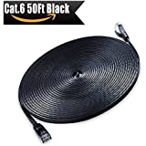 Cat 6 Ethernet Cable 50ft Black - Flat Ethernet Patch Cable - Internet Network Computer LAN Cable with Snagless RJ45 Connectors (15 Meters)