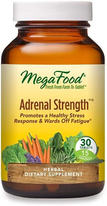 MegaFood, Adrenal Strength, Supports a Healthy Stress Response, Herbal Supplement Vegetarian, 30 Tablets