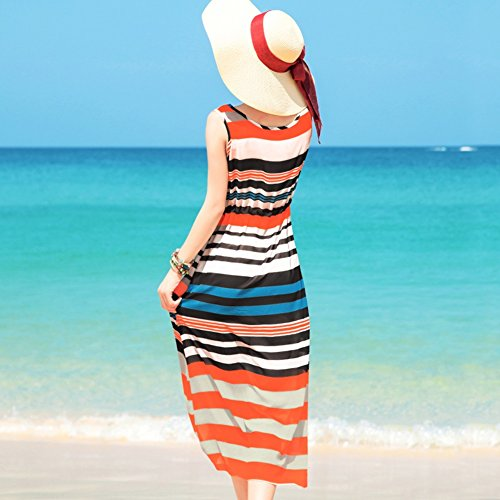 weiblicher Stripes Weste Rock Dress ärmelloser Stripes Horizontal Sommer Beach Chiffon Seaside IxOSwgq6