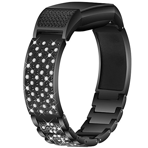 Nigaee For Fitbit Charge 2 Bands Small Large, Stainless Steel Fitbit Bands Charge 2 Fitbit Charge 2 Replacement Bands Fitbit Charge 2 Wristbands Fit bit Charge 2 Bands For Women Men Bangle 2 Black ()