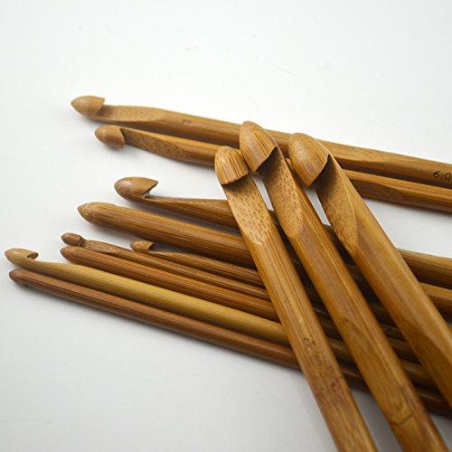 12pcs/set Carbonized Bamboo Needles Crochet Hooks ,Knitting Needles, Knitting Tools Sweater Scarf Hat Weaving - Size Chart Aero