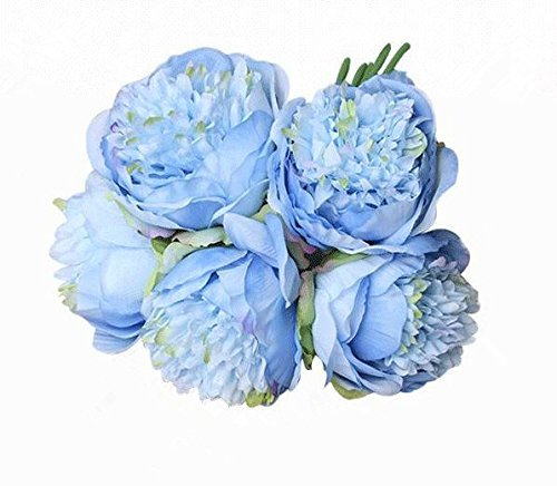 Felice Arts Silk Peony Bouquet 5 Heads Artificial Fake Flower Bunch Bouquet Bridal Bouquet Wedding Living Room Table Home Garden Decoration (Blue)