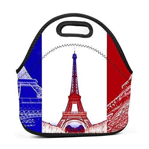 (French Flag Eiffel Tower Lunchbox Multi-purpose Outdoor Tour School Lunch Bag Portable Handbag Bento Student Children bag)