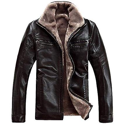 WSDMY Nouvelle Hiver en Cuir Vestes Hommes Casual Velours /Épais Chaud Faux Moto en Cuir Veste Manteau M/âle Parka Hommes Taille Manteau Taille 4XL