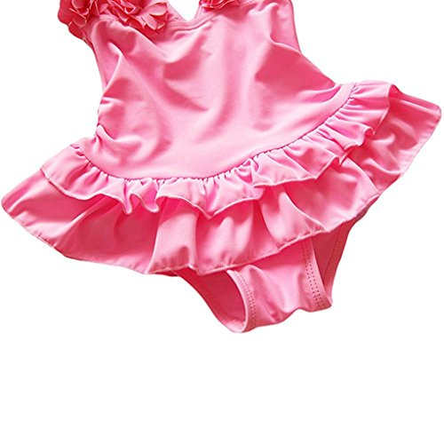 Baby Swimsuit Piece Girls Suit Bathing With Hat One Swimwear Pink Flounced Flower rXprBq1nZ