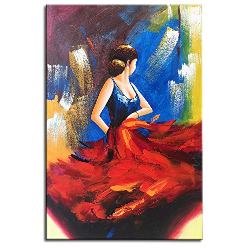 Gincleey Oil Paintings On Canvas, 24x36 Inch Hand Painted Spanish Dancer Picture Vertical Canvas Painting Blue Dress Artwork Elegant Abstract Home Decor Framed Wall Picture Red