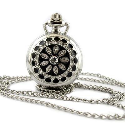 YouYouPifa Fashion Flower Pattern Pattern Silver Small Pocket Watch from YouYouPifa
