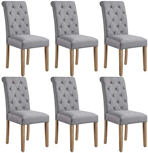 Yaheetech 6pcs Dining Chairs Button Tufted Parsons Diner Chairs Upholstered Fabric Dining Room Chair