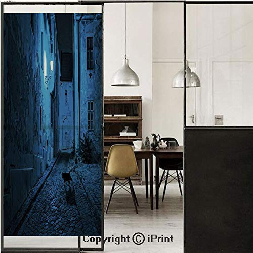 Urban 3D Decorative Film Privacy Window Film No Glue,Frosted Film Decorative,Black Cat Crossing Deserted Street at Night Mysterious Old European Town Alley,for Home&Office,23.6x70.8Inch Blue Black Whi