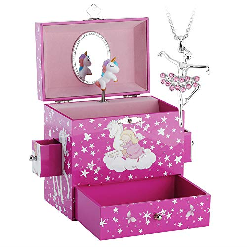 (RR ROUND RICH DESIGN Kids Musical Jewelry Box for Girls with Drawer and Ballerina Necklaces with Lovely Unicorn Theme - Swan Lake Tune Rose Red)