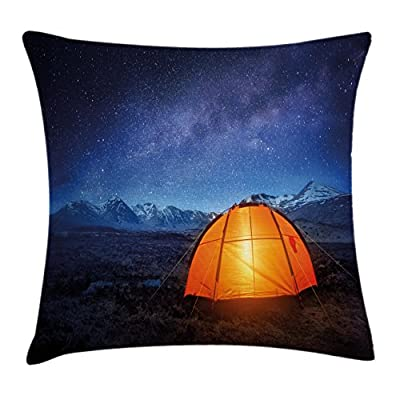 Camper Throw Pillow Cushion Cover by Ambesonne, A Tent Glows under Night Sky Full of Stars Exploring Universe Life Picture, Decorative Square Accent Pillow Case, Dark Blue Orange