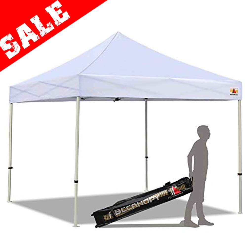 ABCCANOPY PRO-40 10 X 10 Easy Pop up Canopy Tent Commercial Instant Gazebos with Roller Bag and 4X Weight Bag White