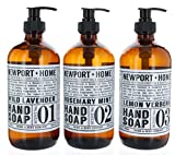 #6: Set of 3 Gift Set Newport + Home Hand Soap Collection, , Wild Lavender, Rosemary Mint & Lemon Verbena, Infused w/Coconut Oil & Essential Oil 16 oz each