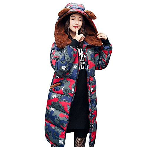 Mujer Rosso Abrigo para Larga Manga Miugee wqUInvXzB