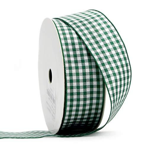 Midi Ribbon Green Gingham Woven Edge Ribbon, 1