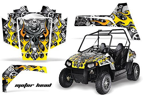 AMRRACING Polaris RZR 170 Youth All Years Full Custom UTV Graphics Decal Kit - Motorhead Black (170 Polaris Graphic Kits)