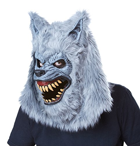 Lycan Costumes (California Costumes Men's Blood Moon Ani-Motion Mask Werewolf Lycan Horror, Gray, One Size)
