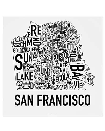 - San Francisco Neighborhoods Map Art Poster, Black & White, 18