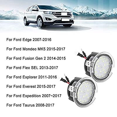 LED Rear View Mirror Light for Ford F150 Explorer Edge Expedition Fusion Focus Lincon Car Tow Under Side Puddle Lamp Welcome Lights,6000K White, 2W 18 LED,2PCS: Automotive