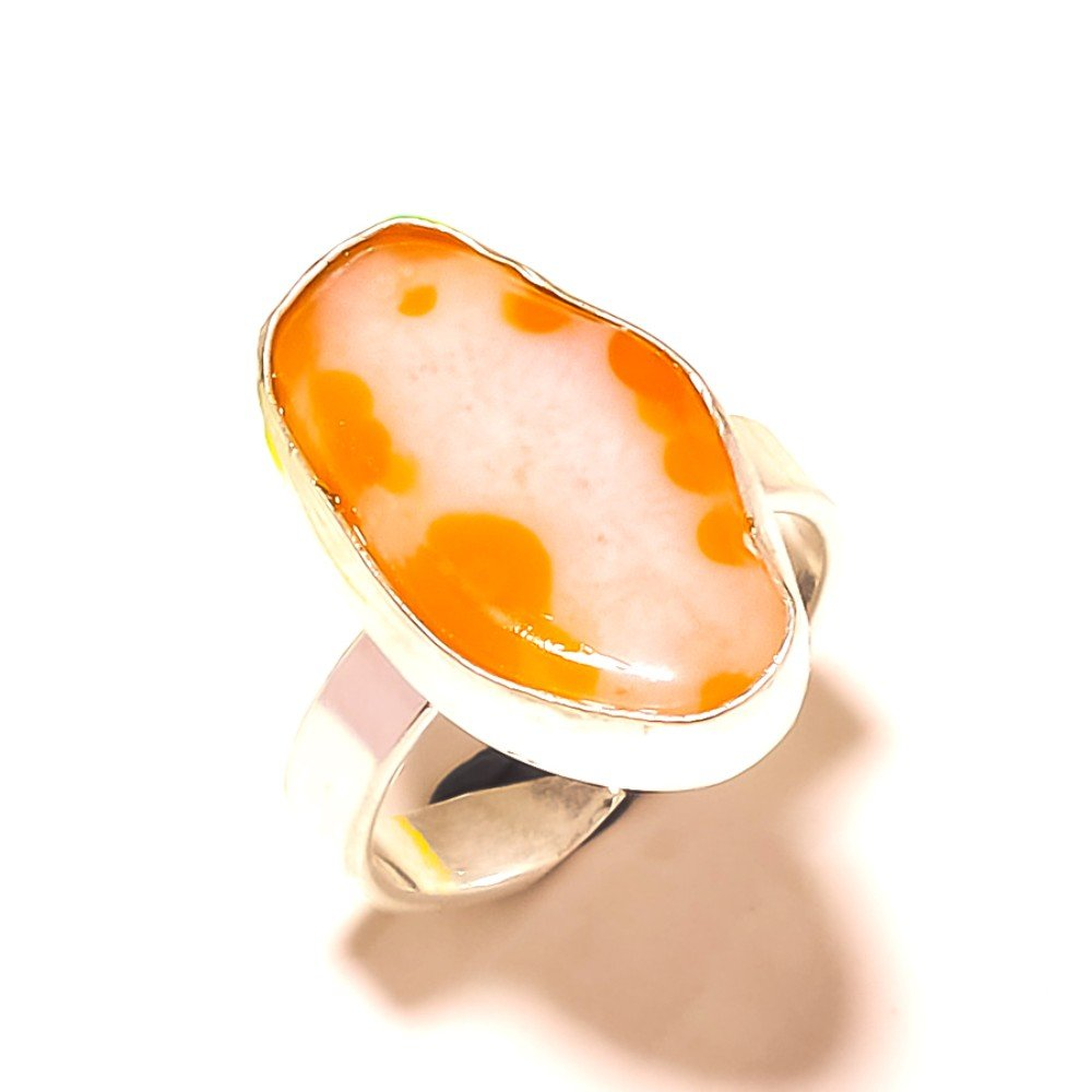 Sizable Yellow Slice Druzy Sterling Silver Overlay 7 Grams Ring Size 8.5 US Awesome