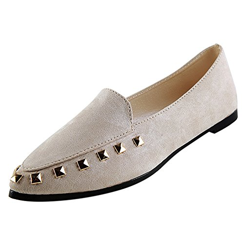 Transer Ladies Rivet Leisure Flats Shoes, Soft Women Slip On Casual Non-Slip Work Loafers,Comfortable Leather Lazy Shoes Beige