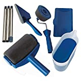 Handser 8pcs/Set DIY Paint Roller Kits, Seamless Roller Tools Set Multifunctional Household Use Wall Decorative Handle Flocked Edger Tool Painting Brushes