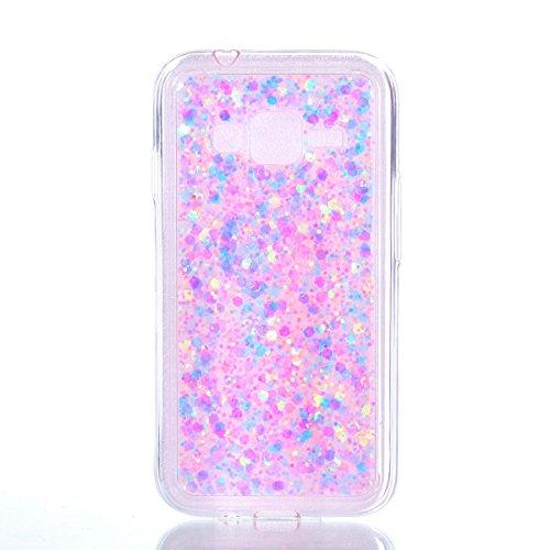 Galaxy J1 Mini Prime Case,Gift_Source [Ultra-Thin] Flexible TPU Gel Rubber Luxury Sparkle 3D Bling Diamond Glitter Paillette Cover Shock-Absorption Bumper Case for Samsung Galaxy J1 Mini Prime [Pink]