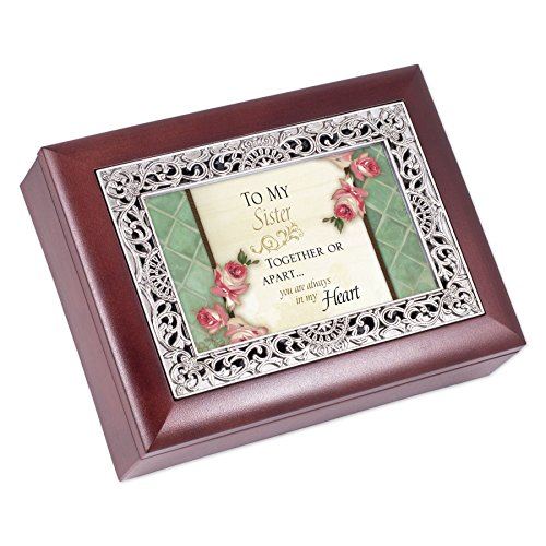 Cottage Garden Sister Together Or Apart Rosewood Jewelry Music Box Plays Wonderful World ()