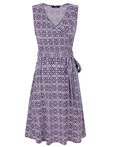 Laksmi Floral Dresses for Women,Fashion Ladies Summer Beach Sleeveless Floral Casual V Neck A Line Floral Plus Size Dress with Belt,Blue Pink XL