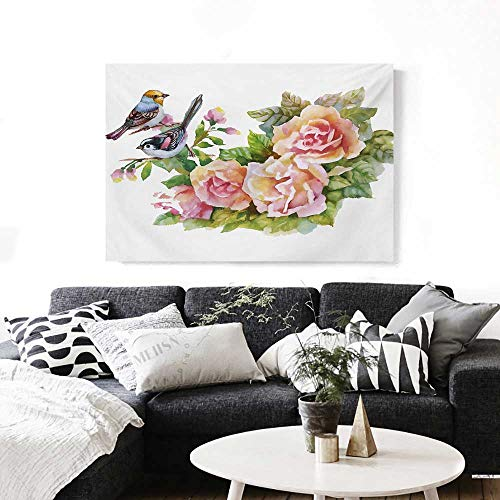 BlountDecor Watercolor Wall Art Canvas Prints Wild Exotic Birds Roses Spring Season Flowers Leaves Buds Painting Artwork Image Ready to Hang for Home Decorations Wall Decor 36