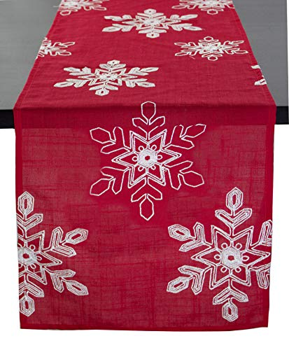 Embroidered White Snowflake Holiday Christmas Red Table Runner. 16